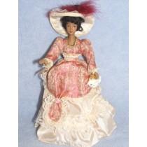 " 7 1_2"" Porcelain Victorian Doll w_Black Hair and Dk Skin"