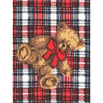 |Fabric-Plaid w_Bears SS Fleece-Red
