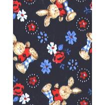 |Fabric -Tan Bunny_Flowers Knit-Nav