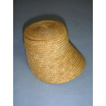 "|Hat - Flat Top Straw Bonnet - 4"" Natural"