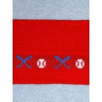 |Knit Trim - Red w_Baseball Design