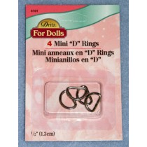 "|Mini ""D"" Rings - Nickel Pkg_4"
