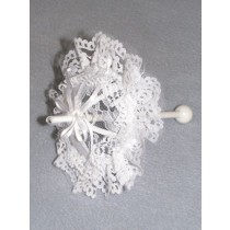 "|Parasol - Ribbons_Lace - 8"" White"
