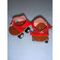 " Roller Skates w_Straps - 3 1_4"" Red"