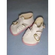 "|Sandal - w_Buckles - 3 3_8"" White w_Pink"