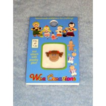 |WC Girl Face - Tan Skin - Brown Pigtails