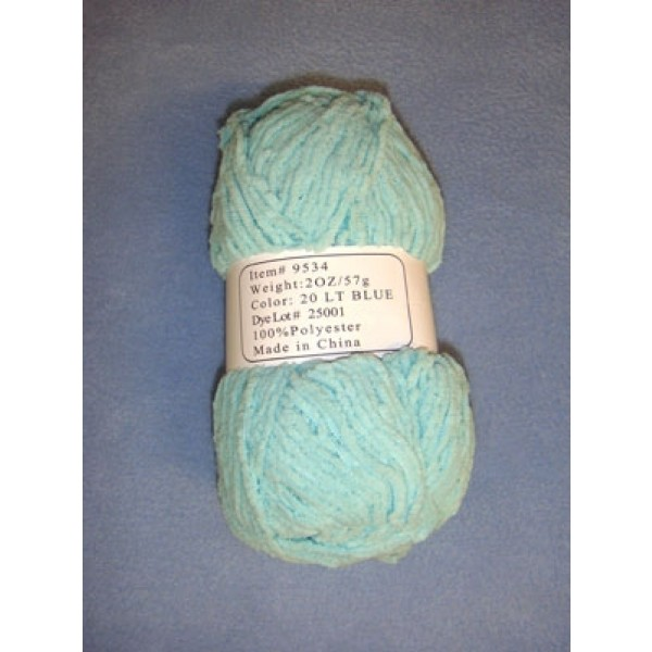 Chenille Yarn - Light Blue - 2 oz Polyester