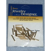14mm Gold 3 Hole Spacer Tubes - pkg_28