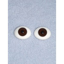 16mm Brown Flat Back Glass Eyes