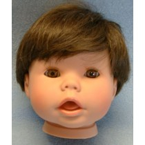 "19"" Brunette Snuggle Kids Head w_Brown Eyes"
