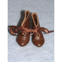 "1 1_2"" Real Leather Dark Brown French Boots w_Laces"