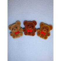"1"" Brown Flocked Bear Pkg_12"