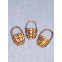 "1"" Round Brown Mini Baskets Pkg_3"