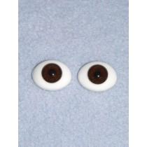 Doll Eye - Flat Back Glass - 22mm Brown