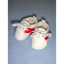 """2 1_8"""" White_Red Tennis Shoes"""