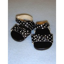 "2 3_4"" Black & White Polka Dot Vinyl Sandals"