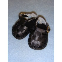 "2 7_8"" Black Fisherman's Sandals"
