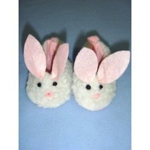 "2 7_8"" Bunny Slippers for 18"" Dolls White"