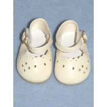 " 2 7_8"" Light Cream Heart Cut Baby Shoes"