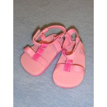 "|2 7_8"" Pink Ankle Strap Sandals"