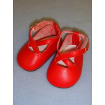 """2 7_8"""" Red Crossed Ankle Strap Shoes"""