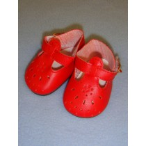 """2 7_8"""" Red T-Strap Shoes"""