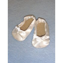 "|2 7_8"" White Satin Slippers"