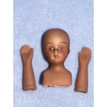 "2"" Porcelain Head_Hands - Dk Skin"