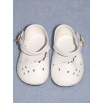 "3 3_8"" White Heart Cut Baby Shoes"