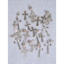 "3_4""- 1 1_2""  Asst Silver Cross Charms - 18 pcs"