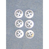 "3_8"" White Buttons - Pkg_6"
