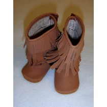 "|3"" Brown Suede Fringe Boots"