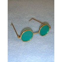 "Glasses - Round - 3"" Gold Wire w_Green Lens"