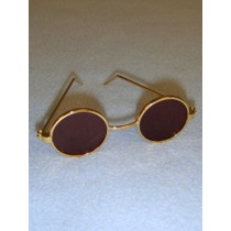 "3"" Gold Round Sunglasses"