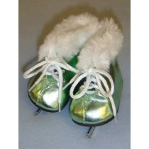 "3"" Metallic Light Green Furry Ice Skates"