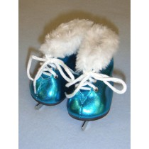 "3"" Metallic Turquoise Furry Ice Skates"
