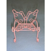 "3"" Miniature Pastel Pink Metal Butterfly Chair"
