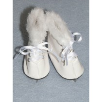 "3"" White Fur-Trimmed Ice Skates for 18"" Dolls"