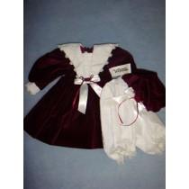 "|Vee's Victorian 20"" Burgundy Velvet Dress w/Bloomers & Hat"