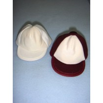 "|Cloth Cap - 3 3_4"" Burgandy_White"