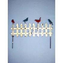 "6 1_4"" Miniature Metal Fence w_Birds"