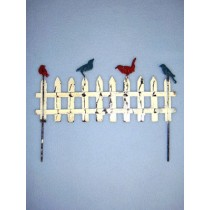 "6 1_4"" Miniature Metal Fence w_Birds"