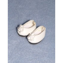 "|7_8"" White Doll Shoe"