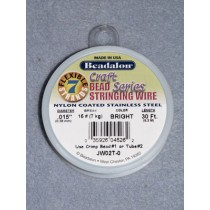 "7 Strand Beading Wire - .015"" (.38 mm) Bright - 30 ft spool"