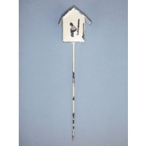 """8 1_2"""" Miniature Metal Birdhouse on Pole"""