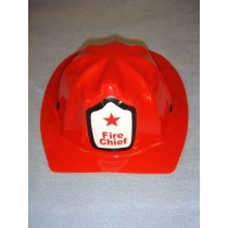 "|8 1_4"" Red Plastic Fire Chief Hat"