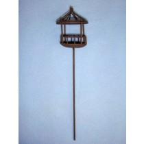 """8"""" Miniature Rustic Metal Birdcage on Pole"""