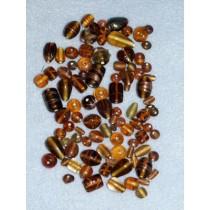 Amber Handblown Glass Bead Mix - 100 gr