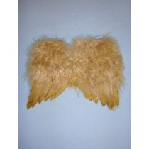 Angel Feather Wings - Tan w_Gold Glitter