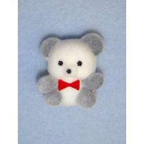 "|Bear - 1"" Flocked - White & Gray Panda"